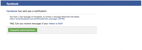 Facebook phishing mail